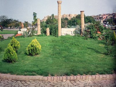 View towards the historical Antep Citadel from a park in Gaziantep city of Turkey.