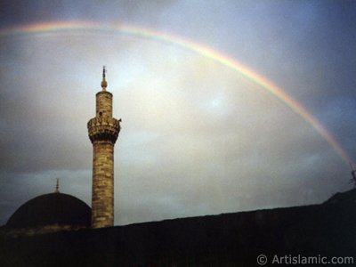 View of rainbow seen over Iskender Pasha Mosque after rain in Istanbul city of Turkey. The picture was taken by Artislamic.com in 1997.