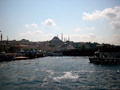 View of (from left) Beyazit Tower, Egyptian Bazaar (Spice Market), Suleymaniye Mosque, (below) Rustem Pasha Mosque and Galata Bridge from the shore of Eminonu in Istanbul city of Turkey.