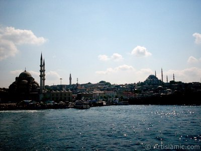 View of (from left) Yeni Cami (Mosque), Beyazit Tower, Egyptian Bazaar (Spice Market), Suleymaniye Mosque and (below) Rustem Pasha Mosque from the shore of Eminonu in Istanbul city of Turkey.