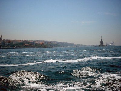 View of Kiz Kulesi (Maiden`s Tower) and Uskudar coast from the Bosphorus in Istanbul city of Turkey.