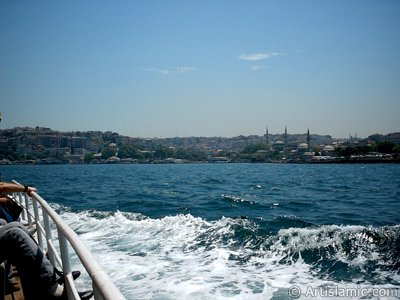 View of Uskudar coast from the Bosphorus in Istanbul city of Turkey.