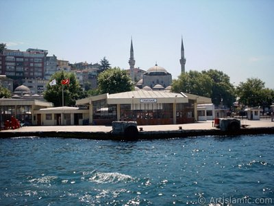 View of Uskudar jetty and Mihrimah Sultan Mosque from the Bosphorus in Istanbul city of Turkey.