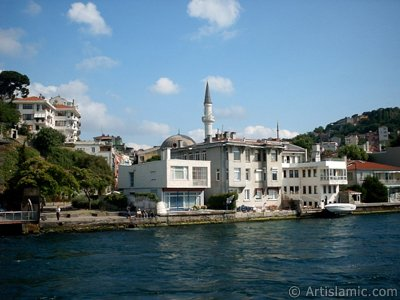 View of Kuzguncuk coast from the Bosphorus in Istanbul city of Turkey.