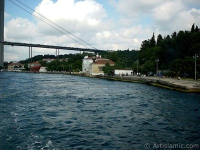 View of Kuzguncuk coast and a Tahtali Mosque from the Bosphorus in Istanbul city of Turkey.