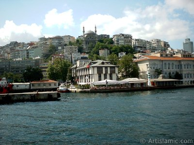 View of Karakoy coast from the Bosphorus in Istanbul city of Turkey.