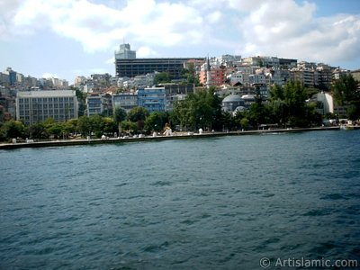 View of Findikli-Kabatas coast and Findikli Mosque from the Bosphorus in Istanbul city of Turkey.