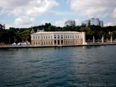 View of the Dolmabahce Palace from the Bosphorus in Istanbul city of Turkey.