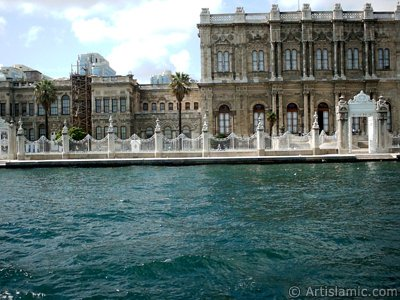 View of the Dolmabahce Palace from the Bosphorus in Istanbul city of Turkey. (The picture was taken by Artislamic.com in 2004.)
