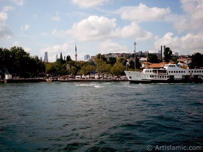 View of Besiktas coast and Sinan Pasha Mosque its behind from the Bosphorus in Istanbul city of Turkey.