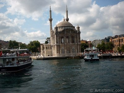 View of Ortakoy coast and Ortakoy Mosque from the Bosphorus in Istanbul city of Turkey.