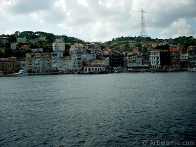 View of Arnavutkoy coast from the Bosphorus in Istanbul city of Turkey.