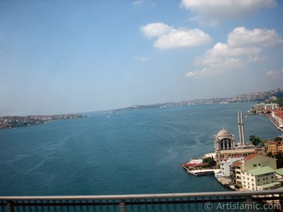View of the Bosphorus in Istanbul from the Bosphorus Bridge over the sea of Marmara in Turkey.