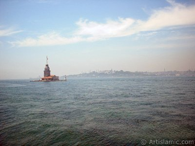 View of Kiz Kulesi (Maiden`s Tower) located in the Bosphorus from the shore of Uskudar in Istanbul city of Turkey.
