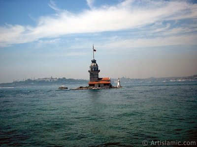 View of Kiz Kulesi (Maiden`s Tower) located in the Bosphorus from the shore of Uskudar in Istanbul city of Turkey. (The picture was taken by Artislamic.com in 2004.)