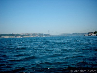 View of Bosphorus and Bosphorus Bridge from Uskudar shore of Istanbul city of Turkey.