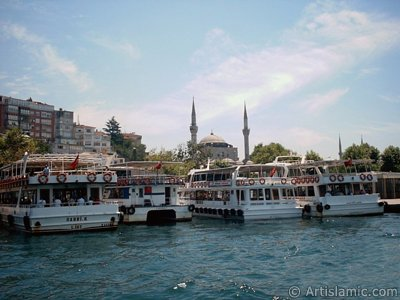 View of Uskudar coast and Mihrimah Sultan Mosque from the Bosphorus in Istanbul city of Turkey.