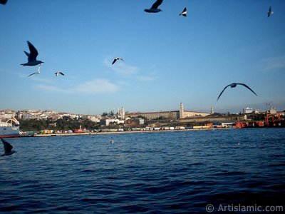 View of Uskudar-Harem coast from the Bosphorus in Istanbul city of Turkey.