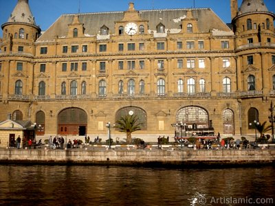 View of Haydarpasha coast and train station from the sea in Istanbul city of Turkey.