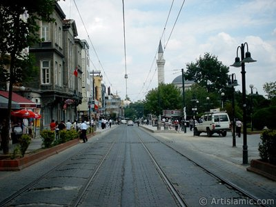 The way of tram and Firuz Aga Mosque in Sultanahmet district of Istanbul city in Turkey. (The picture was taken by Artislamic.com in 2004.)