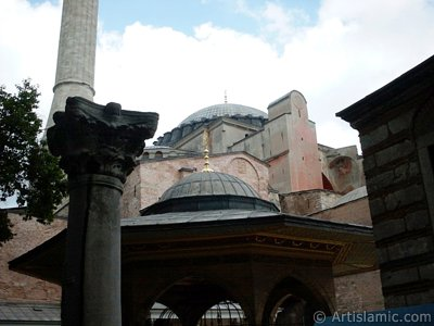Ayasofya Mosque (Hagia Sophia) in Sultanahmet district of Istanbul city in Turkey.