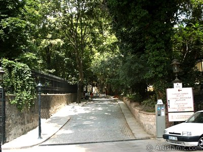 View of a street next to Gulhane Park takes you to Topkapi Palace in Istanbul city of Turkey. (The picture was taken by Artislamic.com in 2004.)