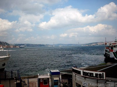 View of jetties and coast from an overpass at Eminonu district in Istanbul city of Turkey.