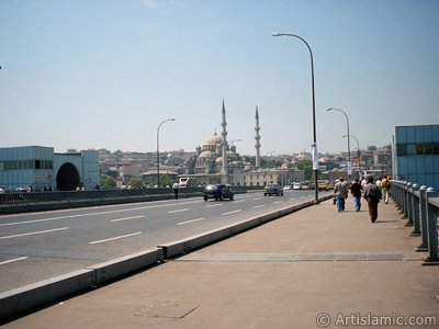 View towards Yeni Cami (Mosque) from Galata Bridge located in Istanbul city of Turkey.
