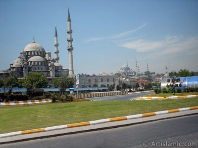 View of Yeni Cami (Mosque), Suleymaniye Mosque and below Rustem Pasha Mosque located in the district of Eminonu in Istanbul city of Turkey.