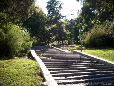 View of a park`s stairs in Dolmabahce district in Istanbul city of Turkey.