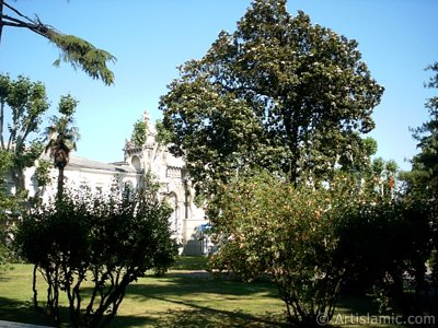 View of Dolmabahce Palace`s entrance located in Dolmabahce district in Istanbul city of Turkey.