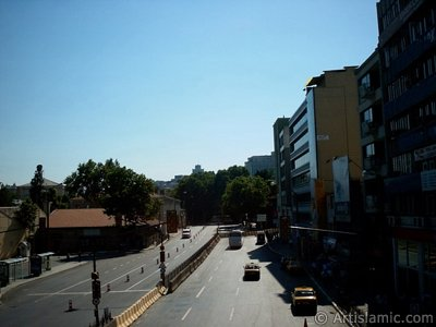 View towards Dolmabahce district from an overpass at Besiktas district in Istanbul city of Turkey. (The picture was taken by Artislamic.com in 2004.)