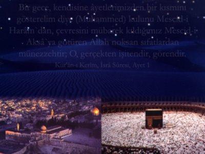 Mîraç Kandili münasebeti ile tasarlanmış bir e-kart resmi. Çalışmada yer alan resim Mahmut Toptaş Hocaefendi`nin ``İsrâ ve Mi`râc`` isimli risalesinin kapağından alınmıştır. Tarafımızdan üzerine İsrâ suresinin ilk ayetinin meâli eklenerek resim yeniden düzenlenmiştir.